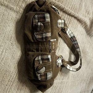 Unionbay brown corduroy purse with plaid pockets